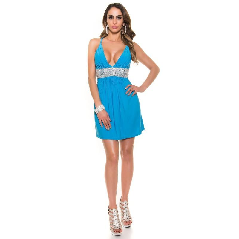 Sexy mini abito turchese con strass taglia unica 40/44