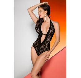 Sexy Body nero in pizzo e raso 'Rayen' Avanua