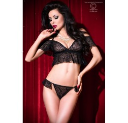 Sexy Completino in pizzo floreale nero Top + Tanga, CR-4045 Chilirose
