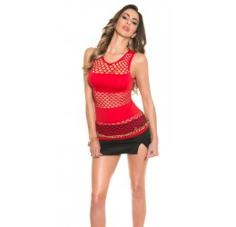 Sexy Top rosso in tessuto coprente e rete taglia unica