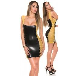 Sexy Mini abito nero lucido con stringhe dorate taglia unica