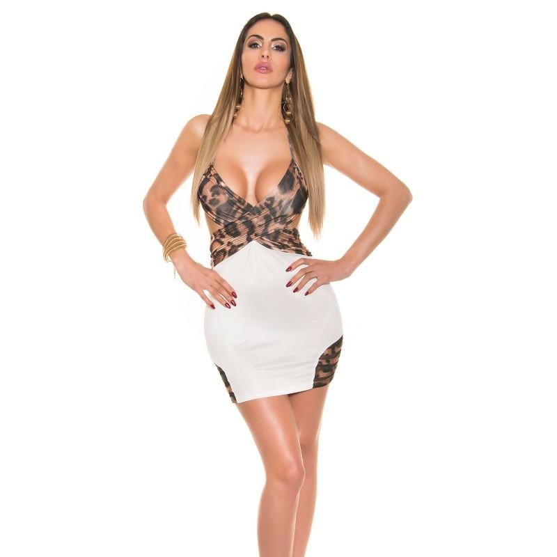 Sexy Mini abito bianco con inserti leopardati taglia unica