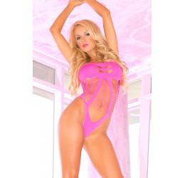 Fantastico Body Rosa fuchsia con inserti stringati, Pink Lipstick