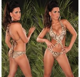 Sexy Monokini costume da bagno donna intero leopardato
