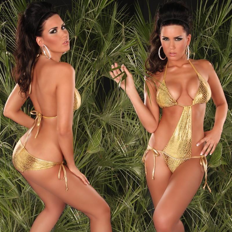 Sexy Monokini costume da bagno donna intero pitonato e oroo