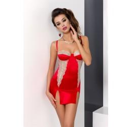 Sexy Chemise Rossa con inserti beige e perizoma 'Loraine', Passion Lingerie