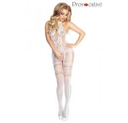 Sexy Bodystocking in rete bianca con ricami, PR4668 Provocative Lingerie