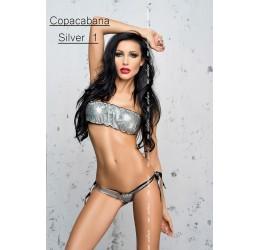 Sexy Micro bikini argento, Reggiseno a fascia + Mutandina brasiliana