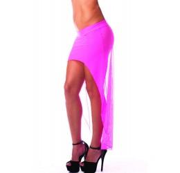 Gonna/Pareo a vita bassa in tessuto elastico rosa neon trasparente