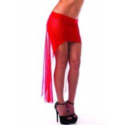 Gonna/Pareo a vita bassa in tessuto elastico rosso trasparente