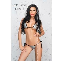 Sexy Micro Bikini argento con stringhe nere 'Costa brava' Me Seduce
