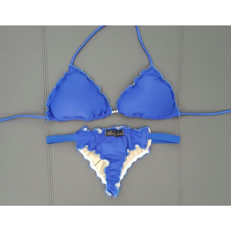 Bikini 'Marta' blu, Reggiseno a triangolo + Perizoma, Alessia Siena