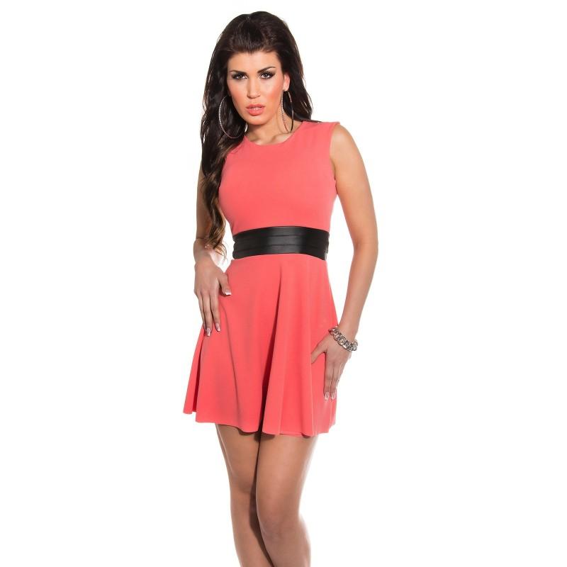 new products a0f87 d5175 Mini abito rosa corallo senza maniche con inserto in ecopelle | Abiti corti  Donna | Rosanerastore Size M (42) Color Rosa Corallo