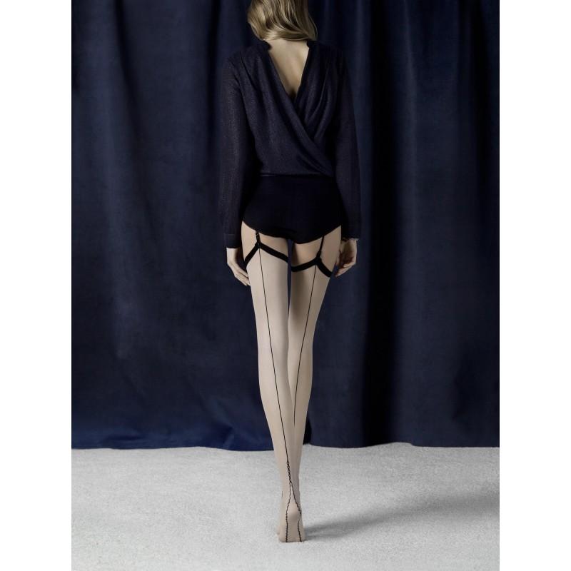 Sexy Calze velate per reggicalze color carne con riga posteriore nera 'Provoke' da Fiore