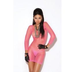 Sexy Mini Abito rosa fuchsia in rete, em8612 Vivace Collection