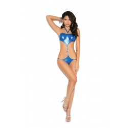 Sexy Body blu lucido in lycra con anelli by Elegant Moments