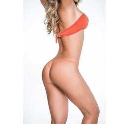 Perizoma V-string lucido arancione con stringhe removibili by Mapalé