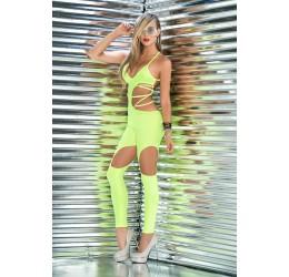 Sexy tuta color lime con aperture e stringhe regolabili, Mapalé