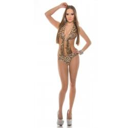 Costume intero monokini leopardato con fibbia e strass