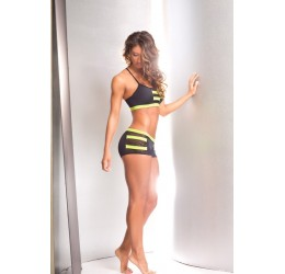 Completino in lycra nero/lime top e shorts da BodyZone