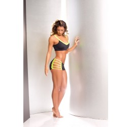 Completino in lycra nero/lime stringato top e shorts da BodyZone