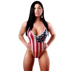 Sexy body in lycra elastica lucida con stampe glitter in fantasia bandiera americana