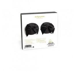 Copricapezzoli neri glitter decorati con fiocco in raso - Bijoux Indiscrets