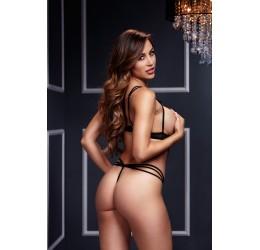 Sexy Body in tulle nero con coppe aperte, Baci Lingerie