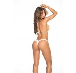 Sexy Perizoma bianco v-string in lycra elastica lucida
