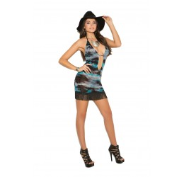 Sexy Mini Abito semi trasparente nero/azzurro con frange, Vivace Collection