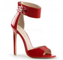 Sandali rossi in vernice con zip posteriore e cinturino alla caviglia, Pleaser Shoes
