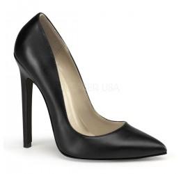 Scarpe décolleté nere in similpelle, tacco 12,5 cm, Pleaser USA