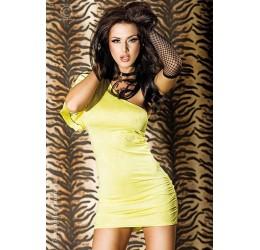 Sexy Mini abito giallo monospalla asimettrico da Chilirose
