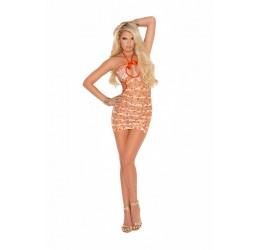 Sexy Mini Abito traforato arancione, Vivace Collection