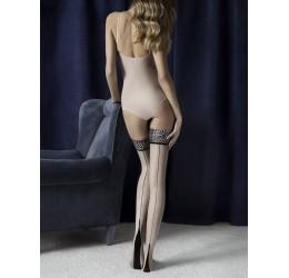 Autoreggenti velate color carne con riga posteriore nera e balza maculata 'Lust' Fiore Hosiery