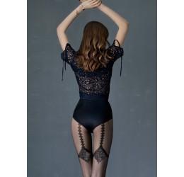 Collant neri velati con decoro posteriore glitter 20 den 'Diamond' Fiore Hosiery
