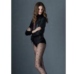 Collant neri velati decorati con cuoricini 30 den 'Super love' Fiore Hosiery