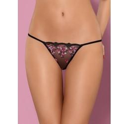 Sexy Perizoma nero in tulle con ricami floreali rosa 'Floweria thong' Obsessive Lingerie