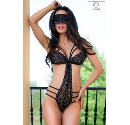 Sexy Body in pizzo nero con inserti rosa + Mascherina CR-4070 Chilirose
