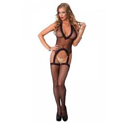 Sexy Bodystocking nera in rete stile guepiere con calze, la89143 Leg Avenue