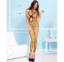 Bodystocking maculata aperta all' inguine, piede scoperto