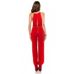 Sexy tuta rossa con catenelle dorate e cintura