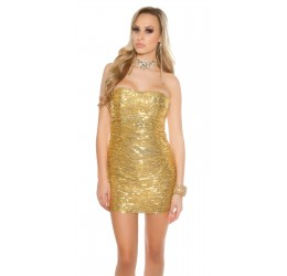 Stupendo Abito Corto tubino color oro con paillettes