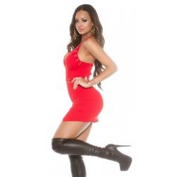 Sexy Mini Abito rosso con borchiette dorate e zip posteriore