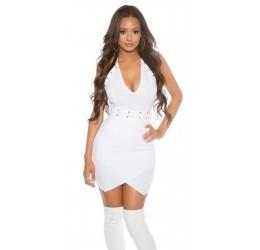 Sexy Mini Abito bianco con borchiette dorate e zip posteriore