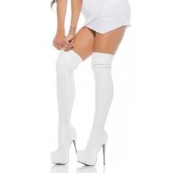 Sexy Stivali bianchi in similpelle con tacco a spillo e plateau