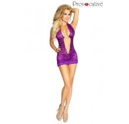 Sexy chemise in pizzo viola con gioiello e perizoma 'Mambo' da Provocative