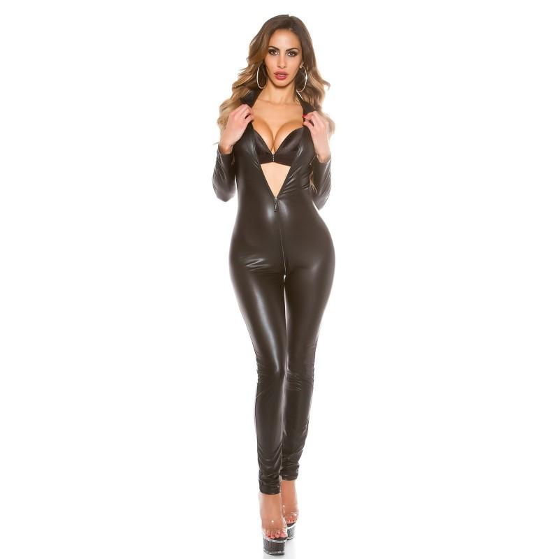 Sexy Tuta nera in tessuto elastico lucido con zip tg. unica 38/42