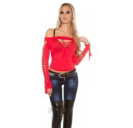 Sexy Maglietta rossa con stringature Tg. Unica 40/44
