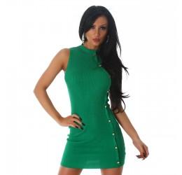 Mini Abito verde senza maniche con bottoncini dorati